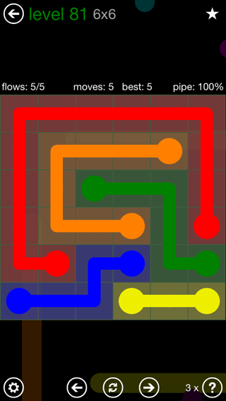 Solution and Answer to the Puzzle for Flow 6mania Pack Set 6x6 Level 81