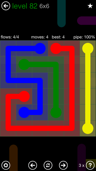 Solution and Answer to the Puzzle for Flow 6mania Pack Set 6x6 Level 82
