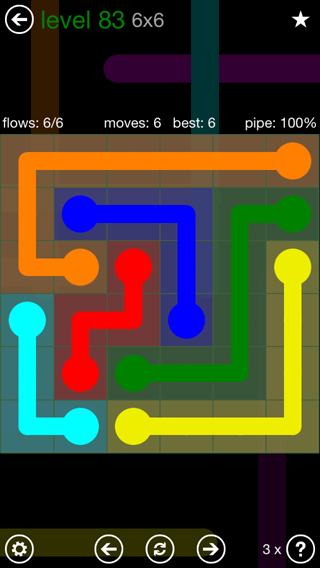 Solution and Answer to the Puzzle for Flow 6mania Pack Set 6x6 Level 83
