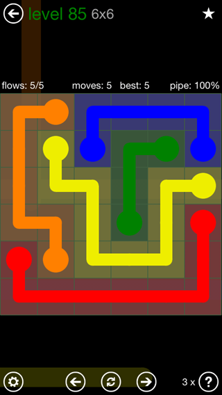Solution and Answer to the Puzzle for Flow 6mania Pack Set 6x6 Level 85