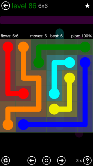 Solution and Answer to the Puzzle for Flow 6mania Pack Set 6x6 Level 86