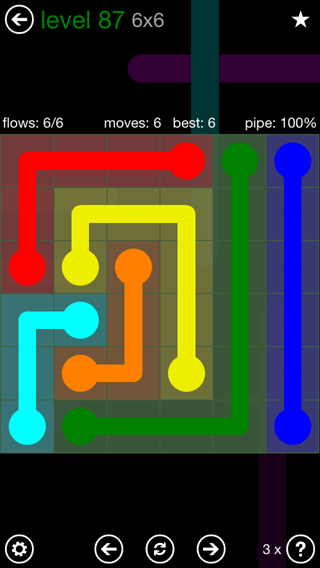Solution and Answer to the Puzzle for Flow 6mania Pack Set 6x6 Level 87