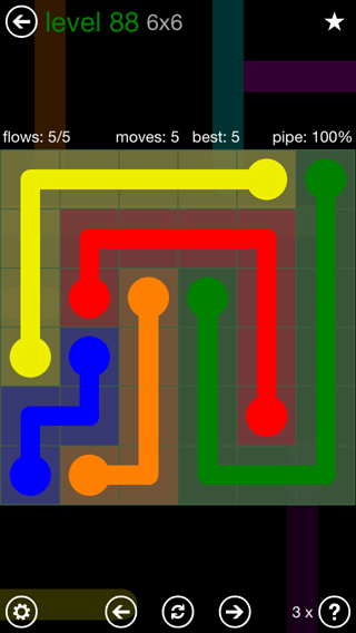 Solution and Answer to the Puzzle for Flow 6mania Pack Set 6x6 Level 88