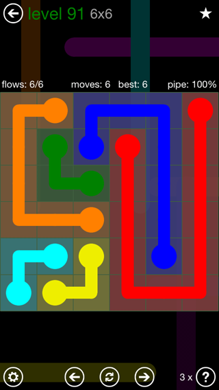 Solution and Answer to the Puzzle for Flow 6mania Pack Set 6x6 Level 91