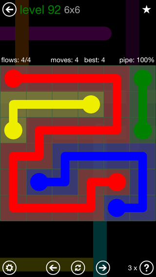 Solution and Answer to the Puzzle for Flow 6mania Pack Set 6x6 Level 92