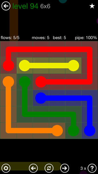 Solution and Answer to the Puzzle for Flow 6mania Pack Set 6x6 Level 94