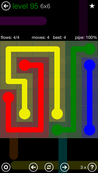 Solution and Answer to the Puzzle for Flow 6mania Pack Set 6x6 Level 95