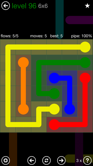 Solution and Answer to the Puzzle for Flow 6mania Pack Set 6x6 Level 96