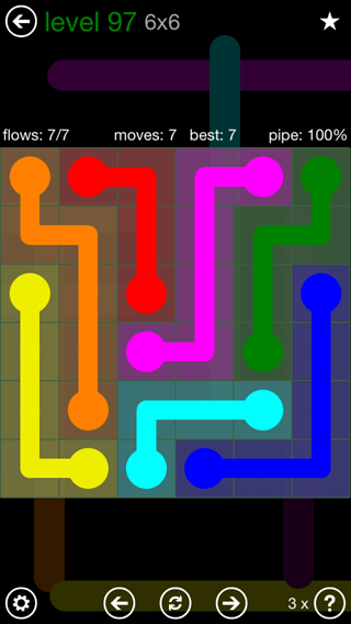 Solution and Answer to the Puzzle for Flow 6mania Pack Set 6x6 Level 97