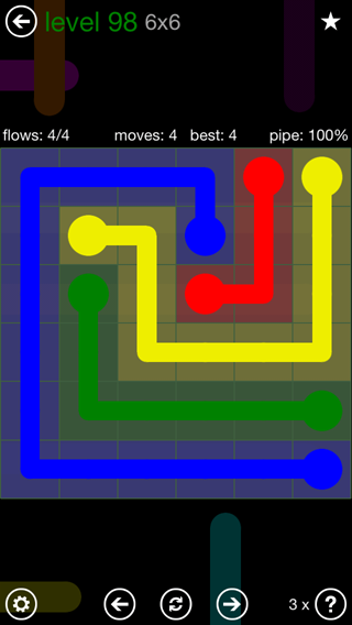 Solution and Answer to the Puzzle for Flow 6mania Pack Set 6x6 Level 98
