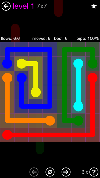 Solution and Answer to the Puzzle for Flow 7mania Pack Set 7x7 Level 1