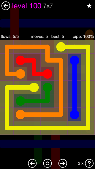 Solution and Answer to the Puzzle for Flow 7mania Pack Set 7x7 Level 100