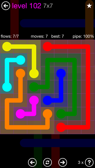 Solution and Answer to the Puzzle for Flow 7mania Pack Set 7x7 Level 102