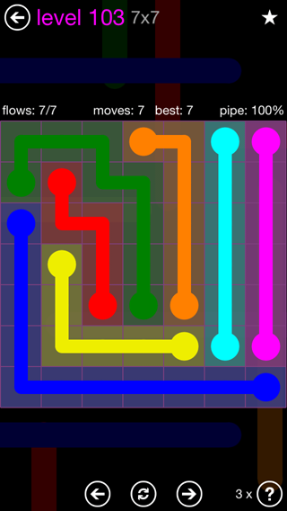 Solution and Answer to the Puzzle for Flow 7mania Pack Set 7x7 Level 103