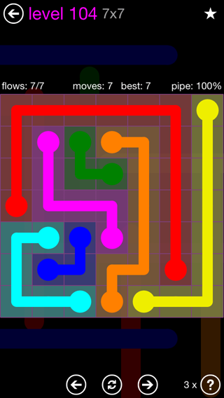 Solution and Answer to the Puzzle for Flow 7mania Pack Set 7x7 Level 104