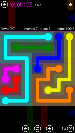 Solution and Answer to the Puzzle for Flow 7mania Pack Set 7x7 Level 105