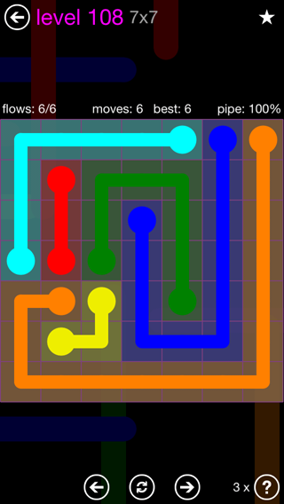 Solution and Answer to the Puzzle for Flow 7mania Pack Set 7x7 Level 108