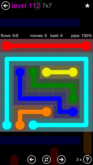 Solution and Answer to the Puzzle for Flow 7mania Pack Set 7x7 Level 112