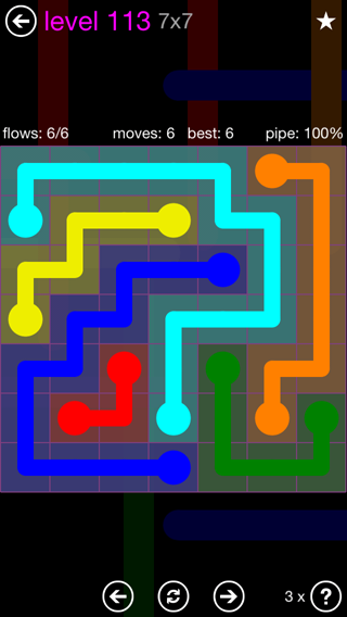 Solution and Answer to the Puzzle for Flow 7mania Pack Set 7x7 Level 113