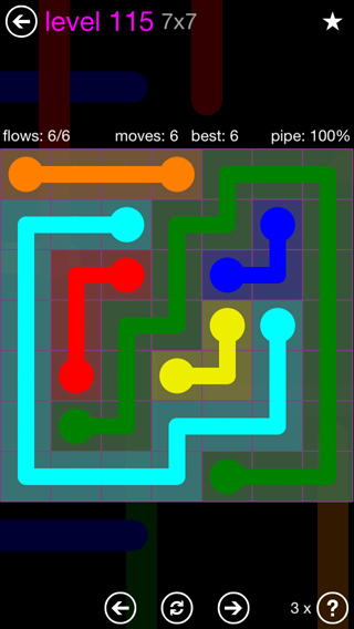 Solution and Answer to the Puzzle for Flow 7mania Pack Set 7x7 Level 115
