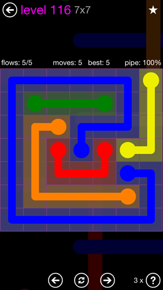 Solution and Answer to the Puzzle for Flow 7mania Pack Set 7x7 Level 116