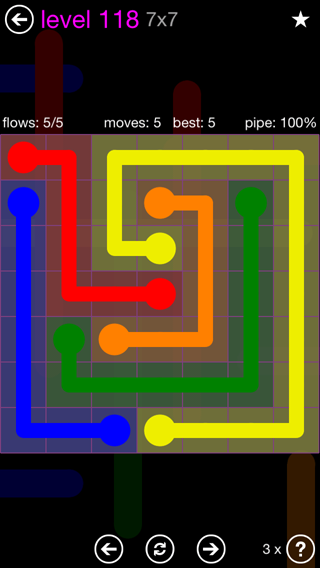 Solution and Answer to the Puzzle for Flow 7mania Pack Set 7x7 Level 118