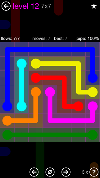 Solution and Answer to the Puzzle for Flow 7mania Pack Set 7x7 Level 12