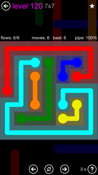 Solution and Answer to the Puzzle for Flow 7mania Pack Set 7x7 Level 120