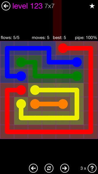 Solution and Answer to the Puzzle for Flow 7mania Pack Set 7x7 Level 123