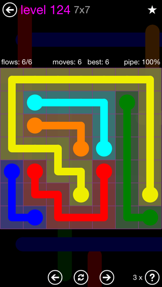 Solution and Answer to the Puzzle for Flow 7mania Pack Set 7x7 Level 124