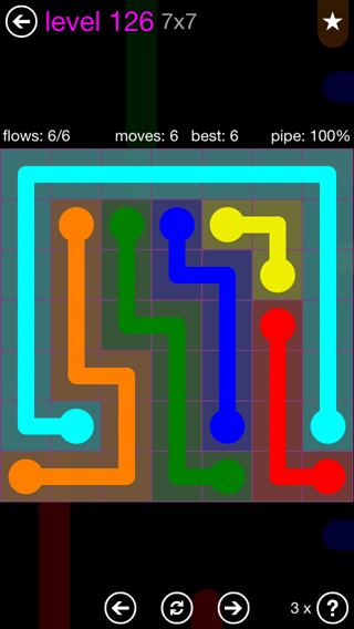 Solution and Answer to the Puzzle for Flow 7mania Pack Set 7x7 Level 126