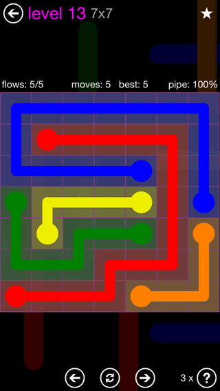 Solution and Answer to the Puzzle for Flow 7mania Pack Set 7x7 Level 13