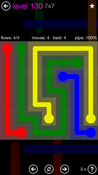 Solution and Answer to the Puzzle for Flow 7mania Pack Set 7x7 Level 130