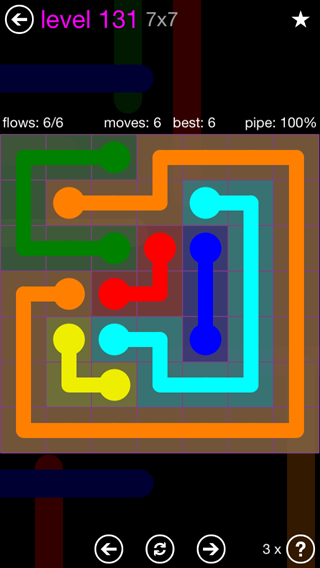 Solution and Answer to the Puzzle for Flow 7mania Pack Set 7x7 Level 131