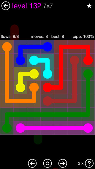 Solution and Answer to the Puzzle for Flow 7mania Pack Set 7x7 Level 132