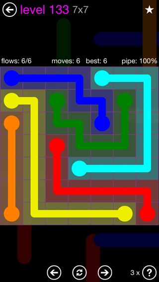Solution and Answer to the Puzzle for Flow 7mania Pack Set 7x7 Level 133