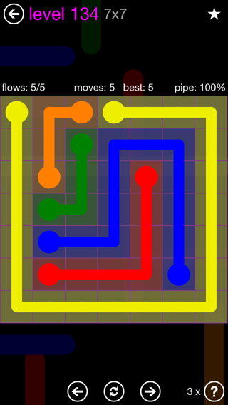Solution and Answer to the Puzzle for Flow 7mania Pack Set 7x7 Level 134