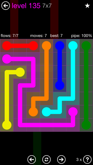 Solution and Answer to the Puzzle for Flow 7mania Pack Set 7x7 Level 135