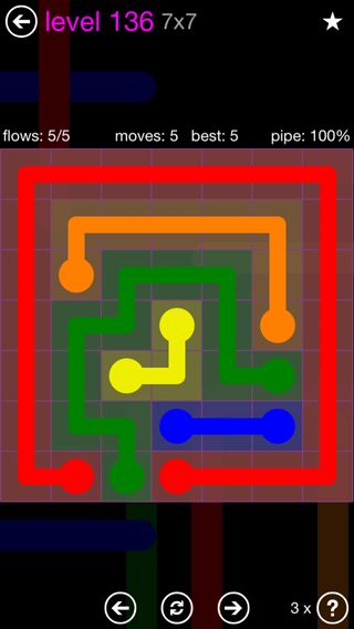 Solution and Answer to the Puzzle for Flow 7mania Pack Set 7x7 Level 136
