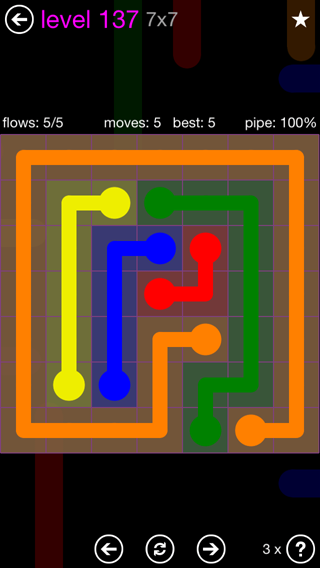 Solution and Answer to the Puzzle for Flow 7mania Pack Set 7x7 Level 137