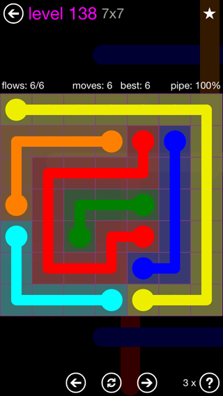 Solution and Answer to the Puzzle for Flow 7mania Pack Set 7x7 Level 138