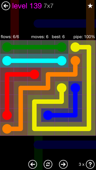 Solution and Answer to the Puzzle for Flow 7mania Pack Set 7x7 Level 139
