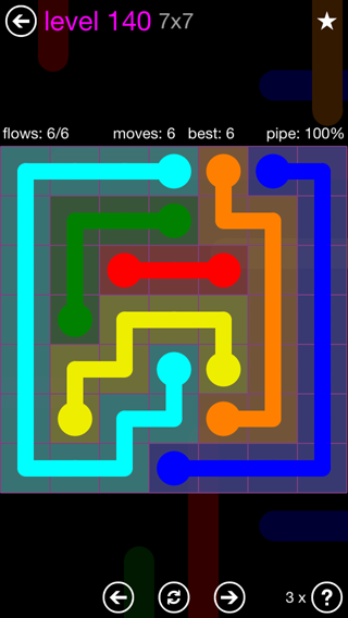 Solution and Answer to the Puzzle for Flow 7mania Pack Set 7x7 Level 140