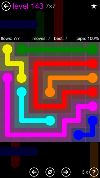 Solution and Answer to the Puzzle for Flow 7mania Pack Set 7x7 Level 143
