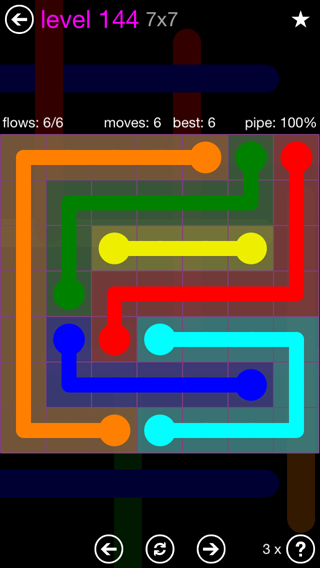 Solution and Answer to the Puzzle for Flow 7mania Pack Set 7x7 Level 144