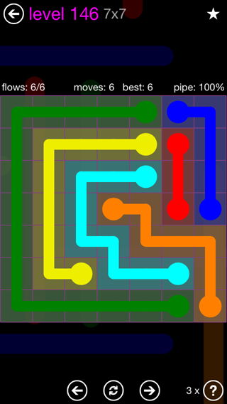 Solution and Answer to the Puzzle for Flow 7mania Pack Set 7x7 Level 146