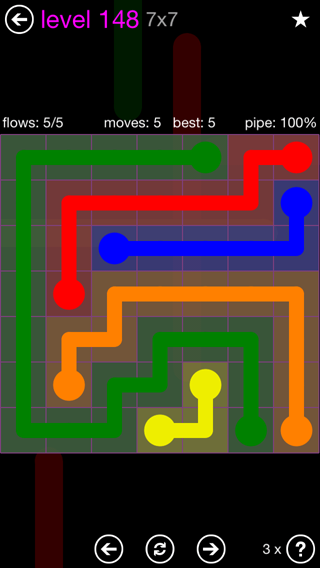 Solution and Answer to the Puzzle for Flow 7mania Pack Set 7x7 Level 148