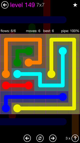 Solution and Answer to the Puzzle for Flow 7mania Pack Set 7x7 Level 149