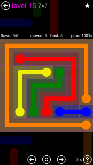 Solution and Answer to the Puzzle for Flow 7mania Pack Set 7x7 Level 15