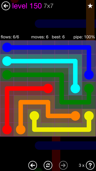 Solution and Answer to the Puzzle for Flow 7mania Pack Set 7x7 Level 150